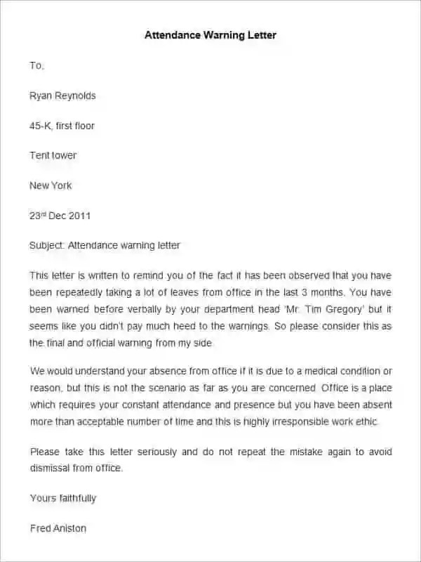 Final Warning Letter To Employee | Docoments Ojazlink