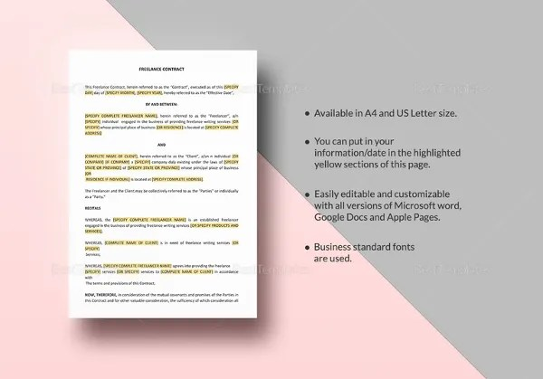 13 Sample Freelance Contract Templates Pages Word Docs Free Amp Premium Templates