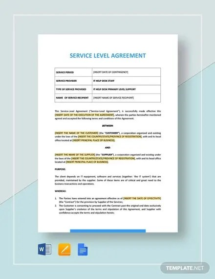 Through an sla, a service provider states the terms that they can do the required work. Free 19 Sample Service Level Agreement Templates In Ms Word Pdf Google Docs Pages Free Premium Templates