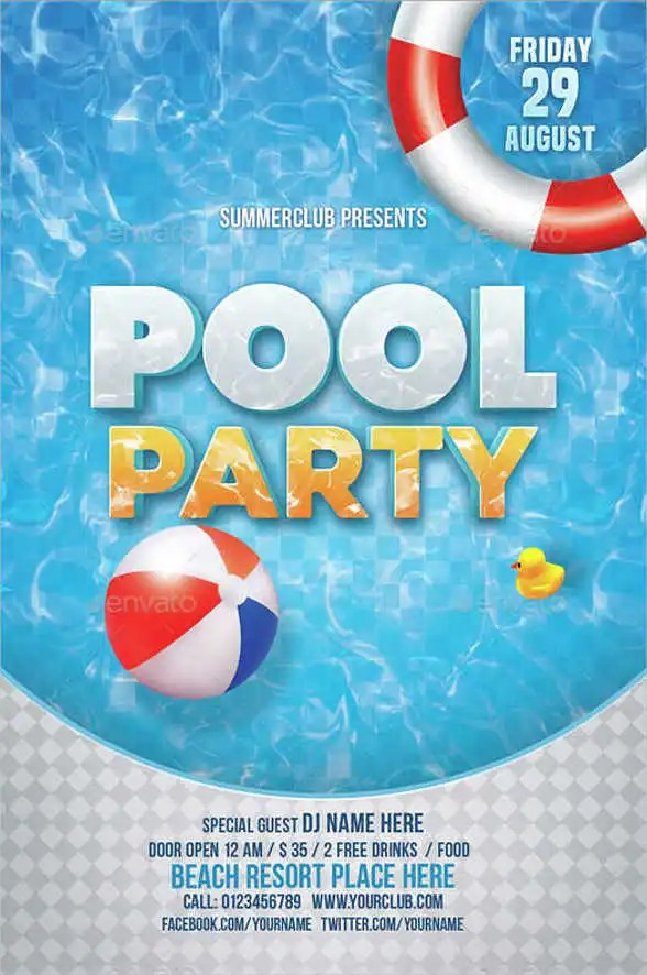 Printable Pool Party Invitation Card