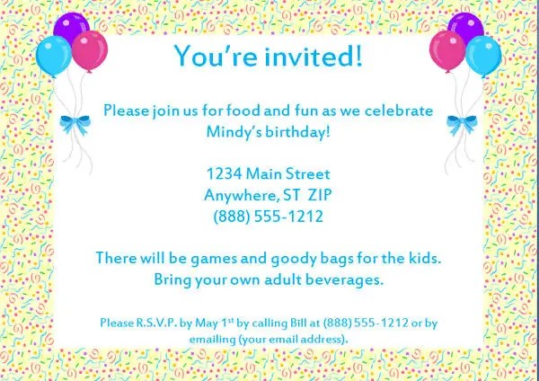 Example of birthday party invitation letter cogimbo pictures about birthday party invitation letter sample inspiration stopboris Image collections
