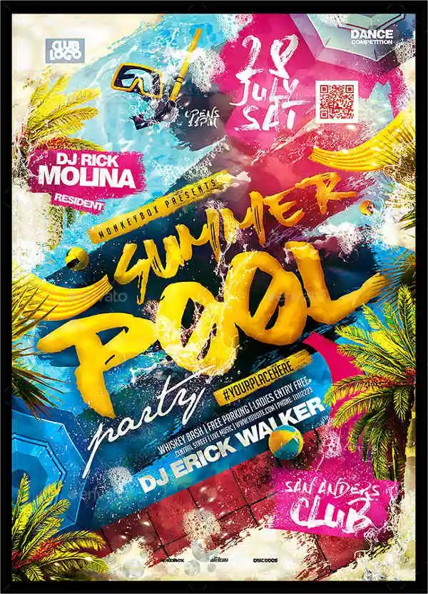 9 Pool Party Flyers Designs Templates Free Premium Templates