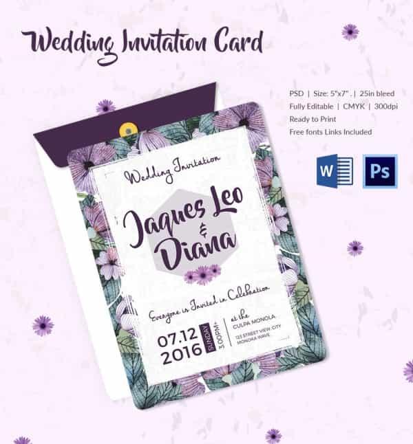 Wedding Invitation Template 71 Free Printable Word Psd Templates