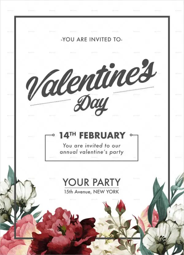 10 Valentines Day Invitation Templates PSD Vector