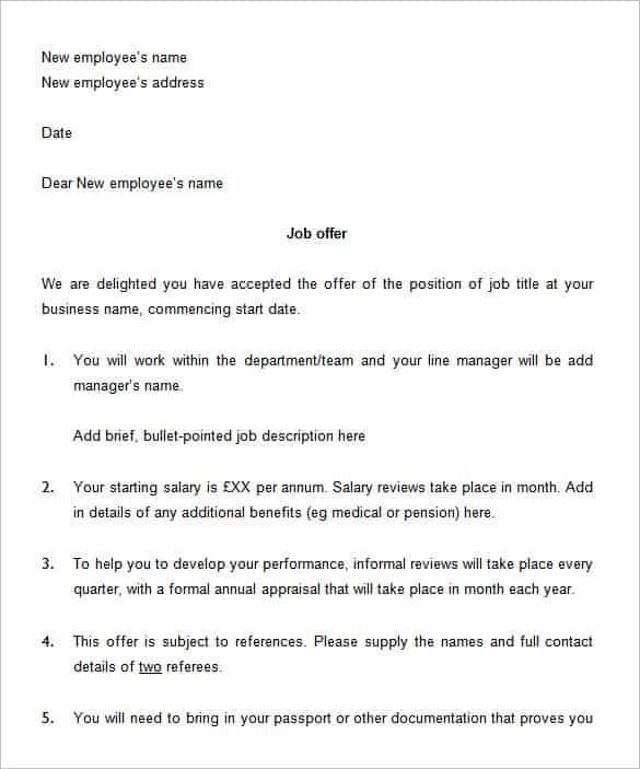 Sample Offer Letter Format Doc India