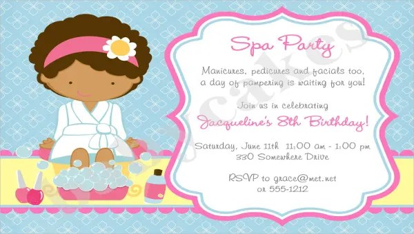 10 spa party invitation designs