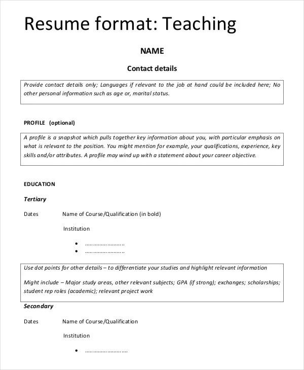 teachers biodata format