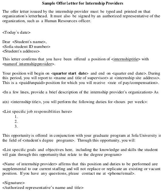 Internship Offer Letter Internship Offer Acceptance Letter Template