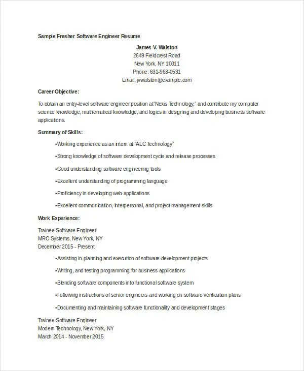 Career Objective For Freshers Engineers Resume. Resume For Software  Engineer Fresher Resume Sample .
