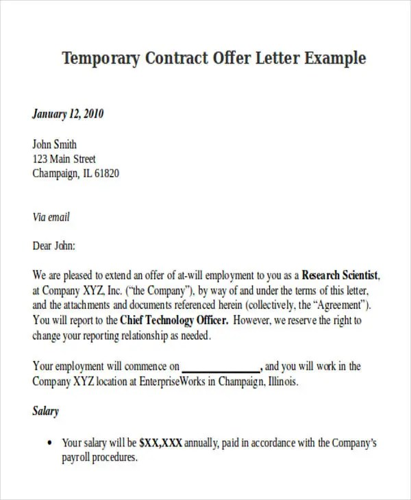 Sample offer letter temporary employment docoments ojazlink for Sample employment contract letter