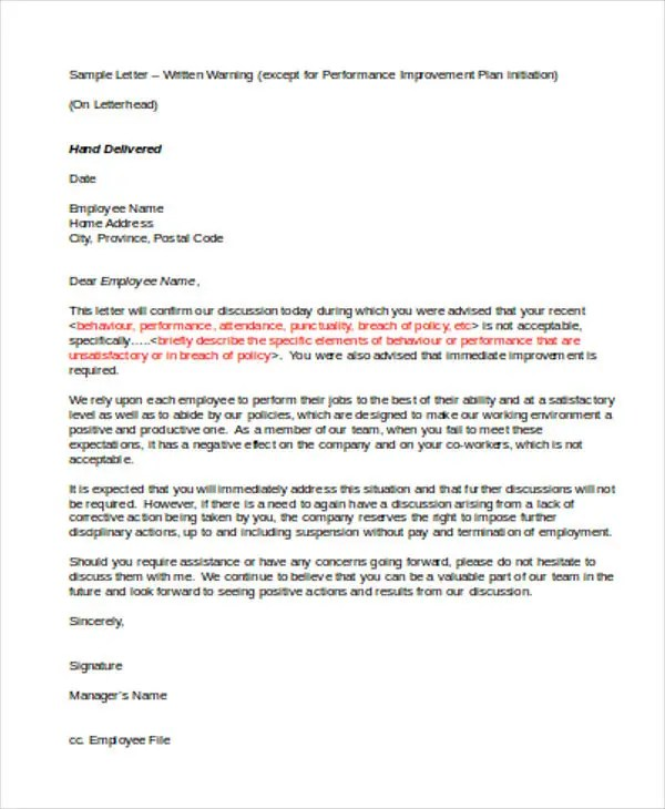 Poor-Performance-and-Attendance-Warning-Letter-Template Verbal Warning Letter Template For Attendance on expulsion letter template, dismissal letter template, employee warning form template, insubordination letter template, restitution letter template, health care cover letter template, breach of contract letter template, discharge letter template, failure to follow policy template, transfer letter template, disciplinary action letter template, formal written warning template, verbal write up, warning write up template, hr written warning template, counseling letter template, conference letter template, legal action letter template, parent notification letter template,