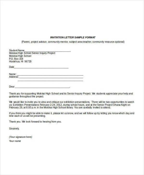 Invitation Letter Format Template