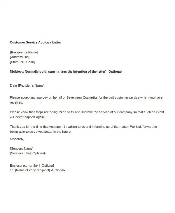 Apology Letter Template To Customer