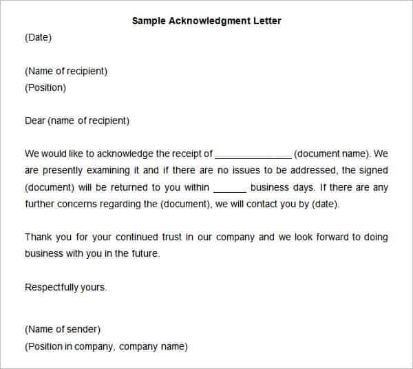 39 Acknowledgement Letter Templates