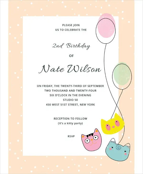 Free Kitty Party Invitation Template
