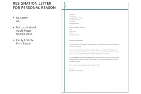 resignation letter format due to personal reason new sample