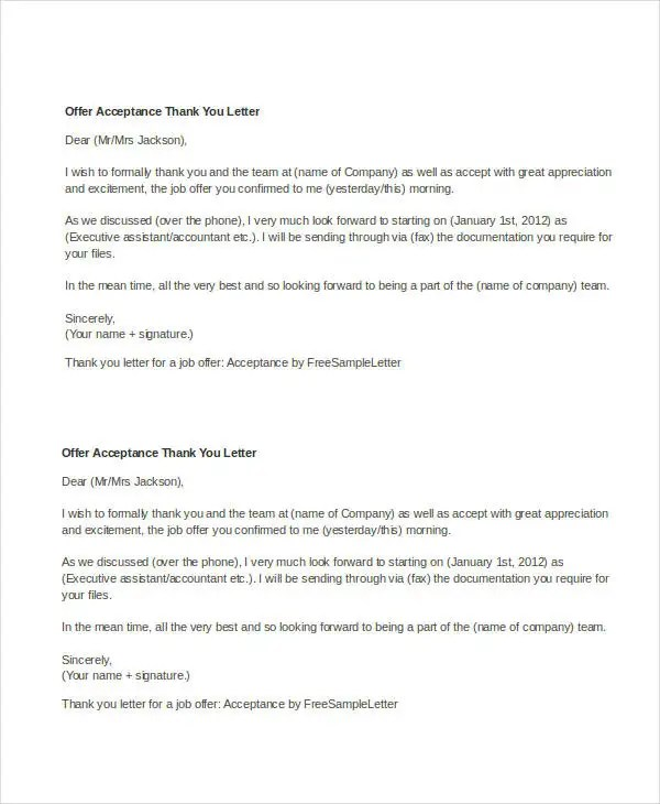 Acceptance Of Job Offer Thank You Letter  Docoments Ojazlink