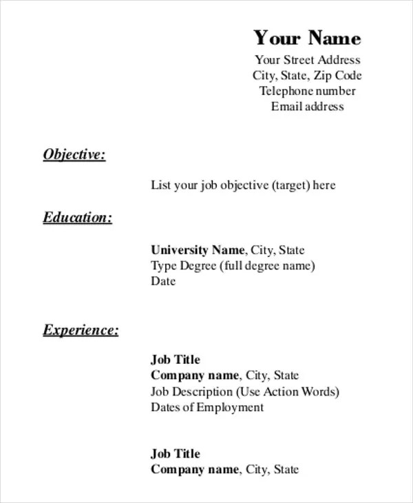 Crush image inside printable blank resume form