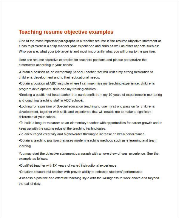 Teacher Resume Examples 26 Free Word Pdf Documents