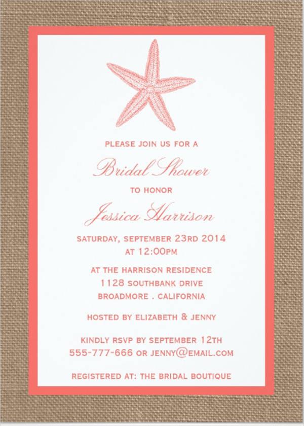 C Beach Bridal Shower Invitation