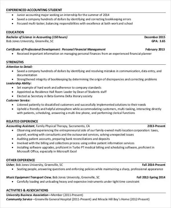 Accountant Resume - Resume Sample
