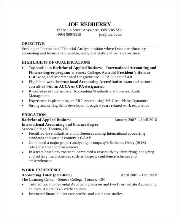 Accounting Resume Samples Free