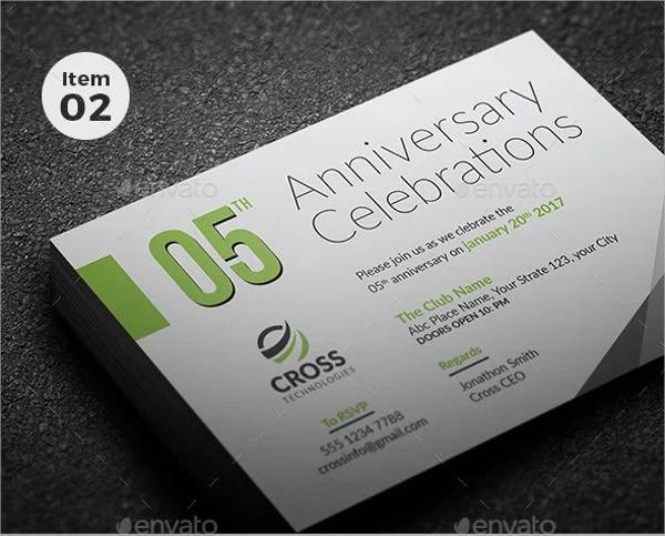 Corporate Anniversary Invitation Card