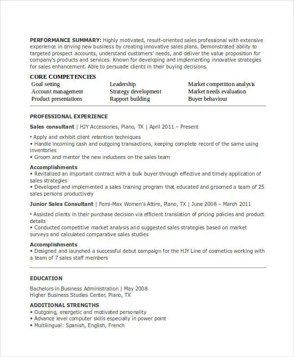 30 Sales Resume Templates Pdf Doc Free Amp Premium