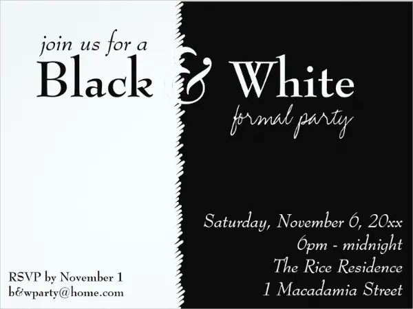9 black and white party invitation