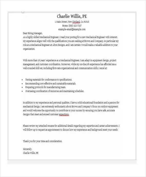 Job Application Letter For Engineer 11 Free Word PDF Format Download Free Amp Premium Templates