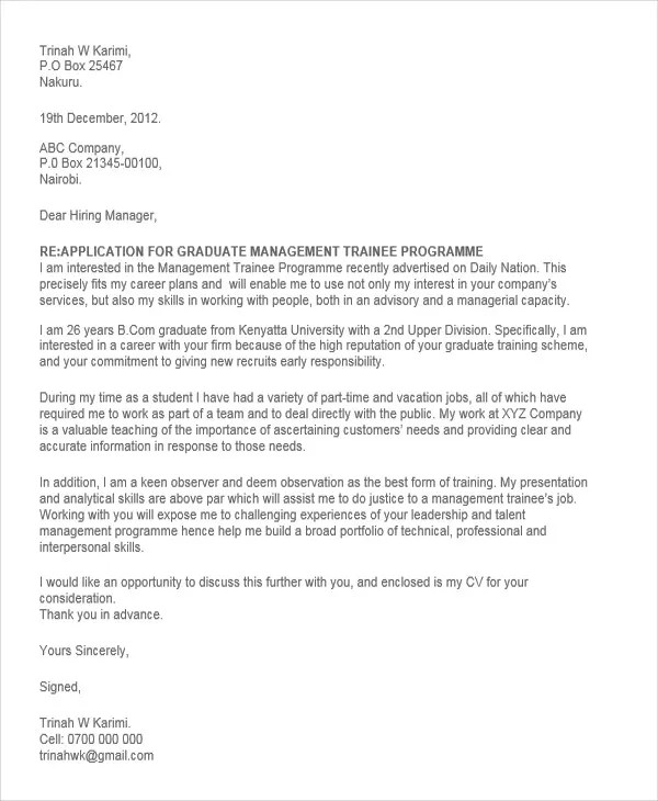 Sample Cover Letter For Graduate Management Trainee Position ...