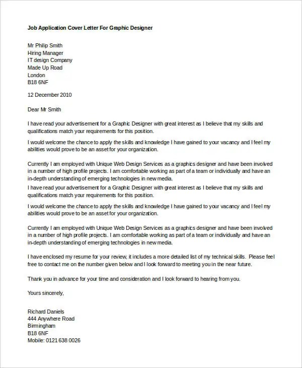 Sample Of Application Letter For Graphic Designer Graphic Designer Cover Letter Sample