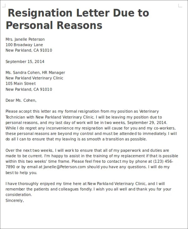 Example For Resignation Letter Personal Reason