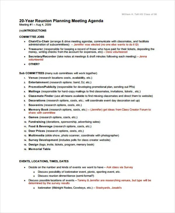 Family Reunion Agenda Sample