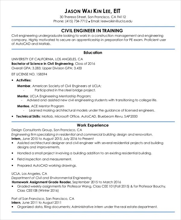 Civil Engineer Resume Template Brianhans Me  Eit On Resume