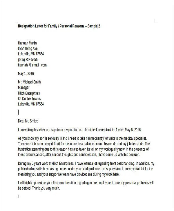 resignation letter format due to family problems family reasons pertamini co 28106 | Resignation due to Personal Reason