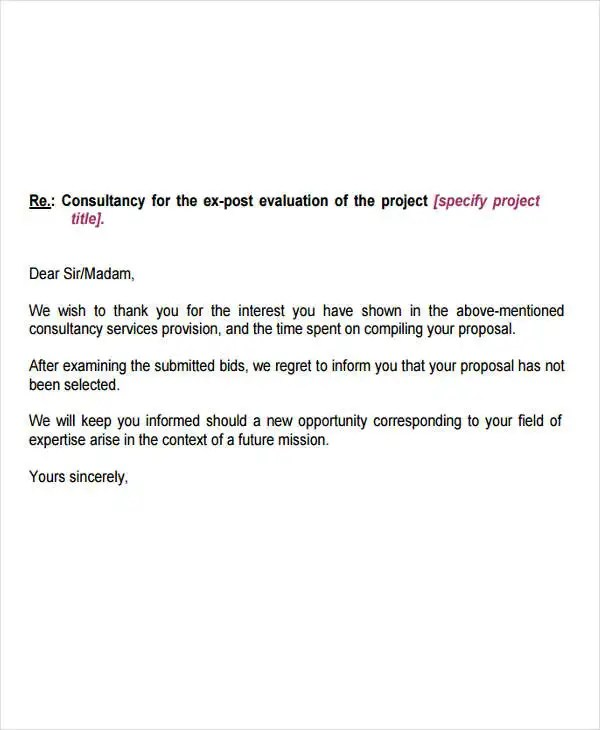 Contract Bid Rejection Letter