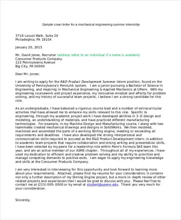9 Internship Cover Letter Free Sample Example Format Download Free Premium Templates