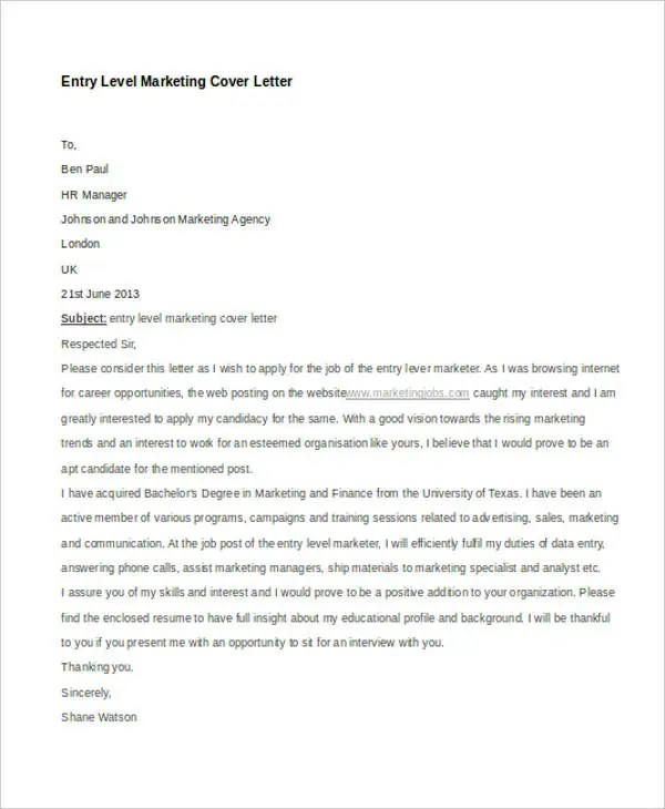 11 Marketing Cover Letter Templates Free Sample Example Format Download Free Amp Premium