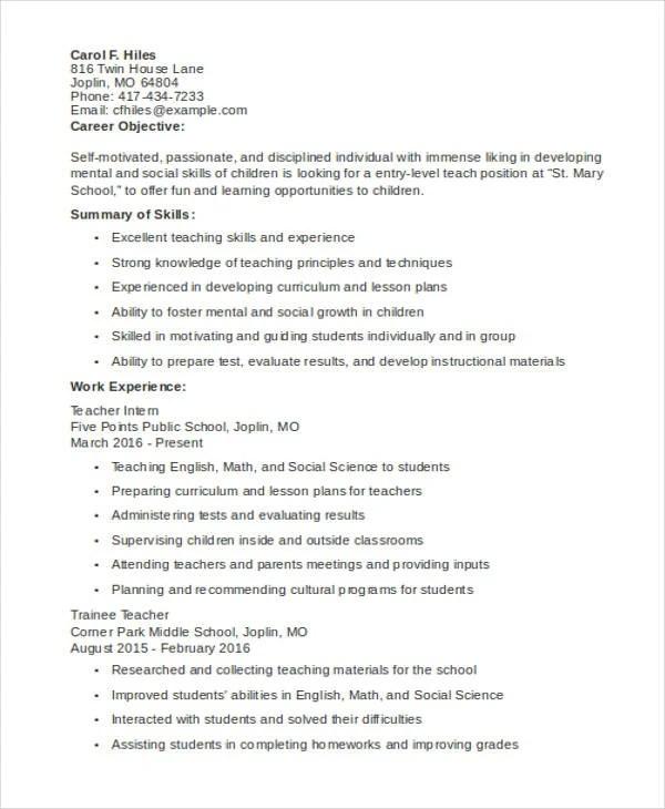 10 Teaching Resume Templates PDF DOC Free Amp Premium Templates