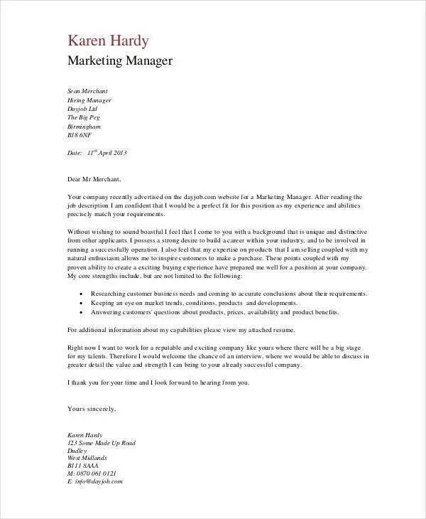 How to write a cover letter for an office manager position. 11 Marketing Cover Letter Templates Free Sample Example Format Download Free Premium Templates