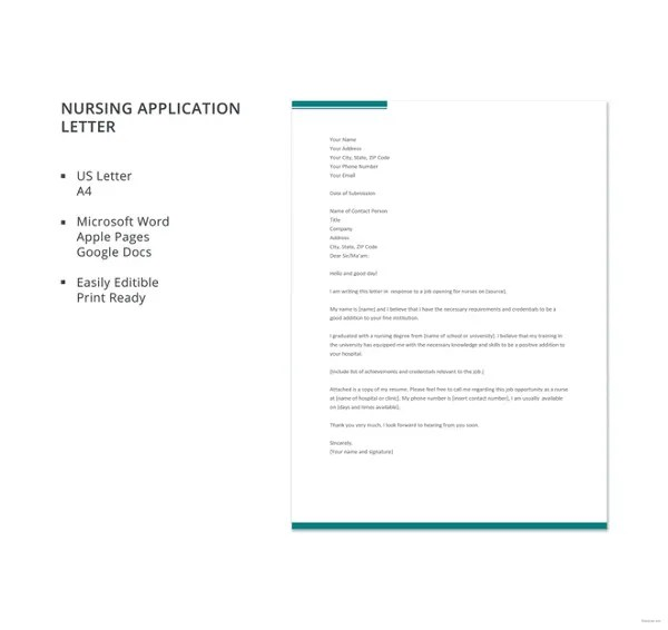 16 Job Application Letters For Nurse Free Sample Example Format Download Free Amp Premium