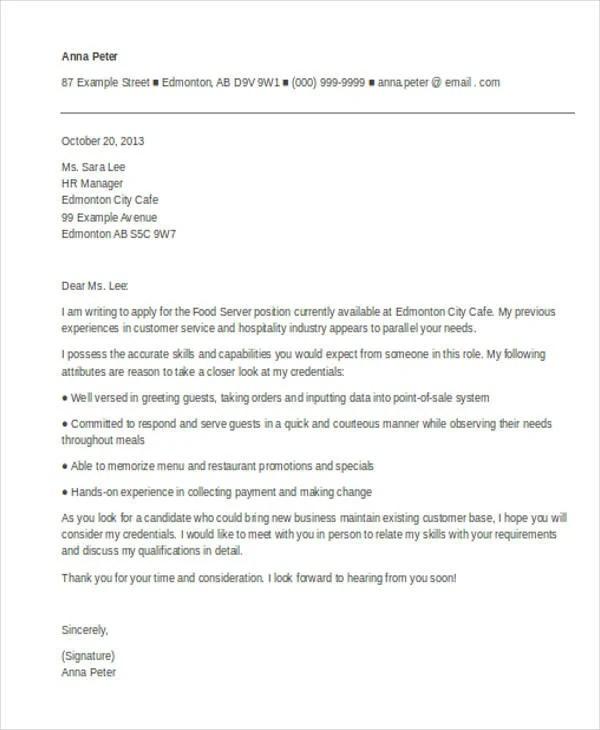 9 Server Cover Letter Word PDF Free Amp Premium Templates