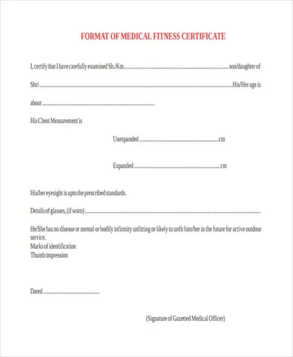 physical fitness certificate format pdf