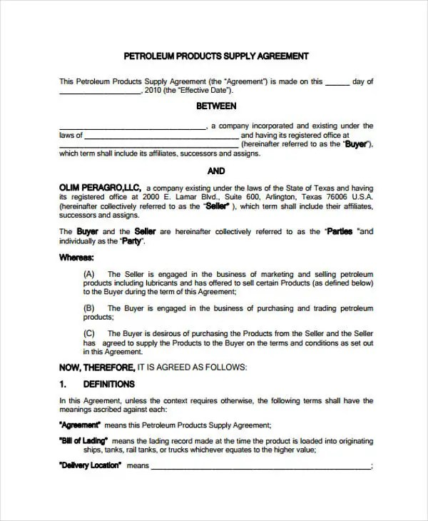10 Supply Contract Templates Free Word PDF Apple Pages Google Docs Format Download Free