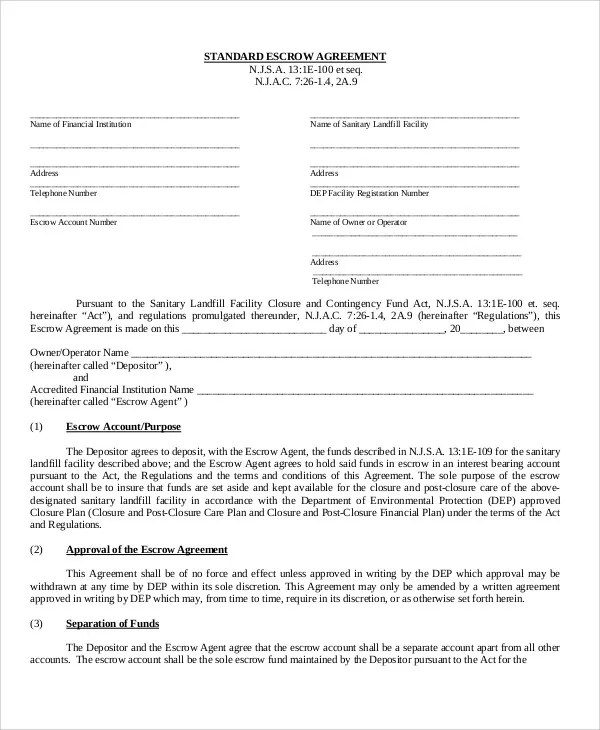 Escrow agreement and other business contracts, forms and agreeements. Escrow Agreement Template 12 Free Word Pdf Format Download Free Premium Templates