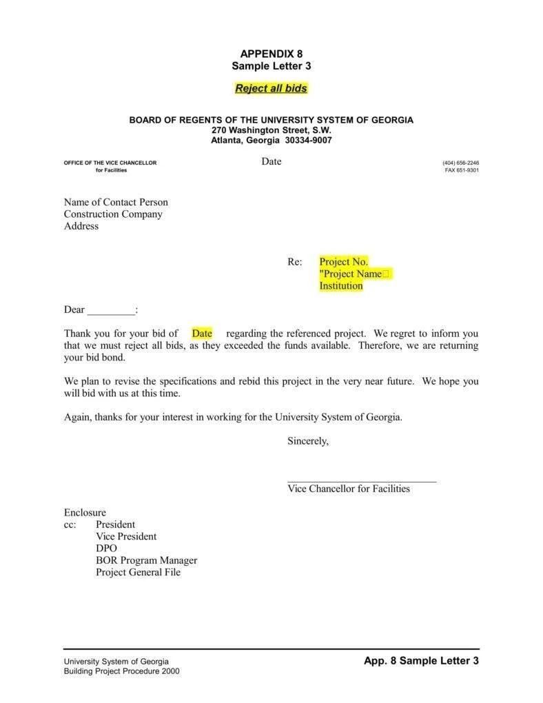 Invitation for bid sample letter invitationjpg 9 business proposal rejection letters free premium templates spiritdancerdesigns Images