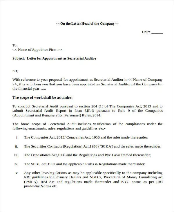Auditor Appointment Letter Templates 6 Free Word PDF