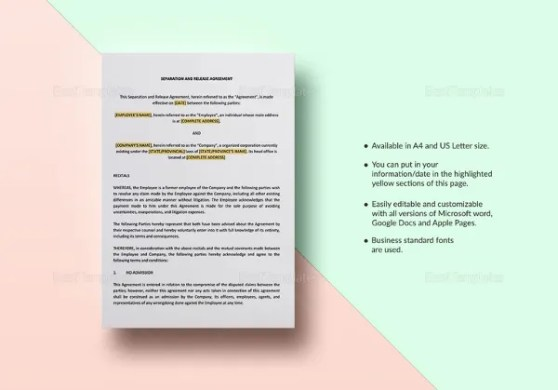 43  Basic Agreement Forms   Free   Premium Templates Separation and Release Agreement Template in Word  ipages