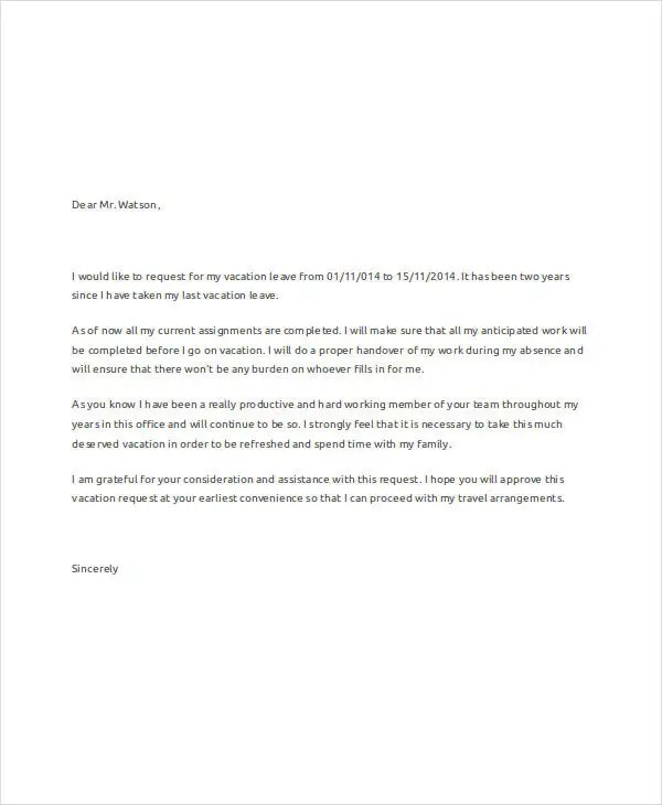 Request letter for change of vacation leave another1st request for vacation leave 79 request letter samples free premium templates thecheapjerseys Gallery